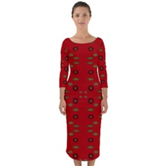Brown Circle Pattern On Red Quarter Sleeve Midi Bodycon Dress
