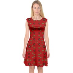 Brown Circle Pattern On Red Capsleeve Midi Dress