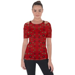 Brown Circle Pattern On Red Short Sleeve Top