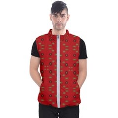 Brown Circle Pattern On Red Men s Puffer Vest