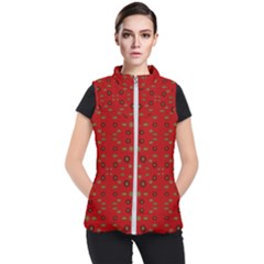 Brown Circle Pattern On Red Women s Puffer Vest
