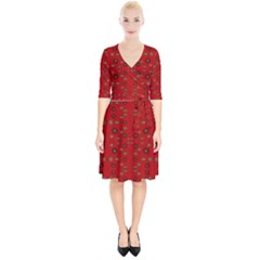 Brown Circle Pattern On Red Wrap Up Cocktail Dress