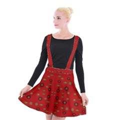 Brown Circle Pattern On Red Suspender Skater Skirt