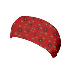 Brown Circle Pattern On Red Yoga Headband