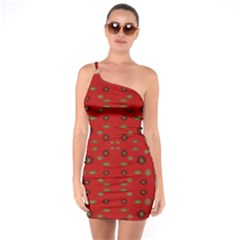 Brown Circle Pattern On Red One Soulder Bodycon Dress