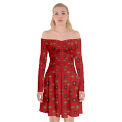 Brown Circle Pattern On Red Off Shoulder Skater Dress