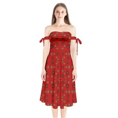 Brown Circle Pattern On Red Shoulder Tie Bardot Midi Dress