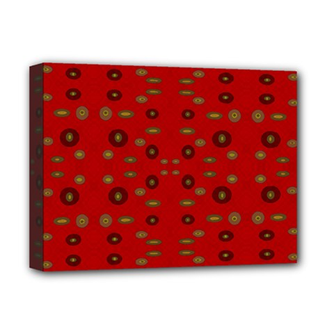 Brown Circle Pattern On Red Deluxe Canvas 16  X 12   by BrightVibesDesign