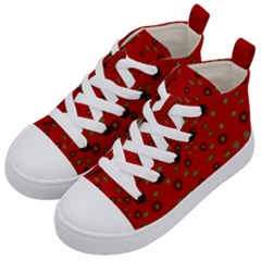 Brown Circle Pattern On Red Kid s Mid Top Canvas Sneakers by BrightVibesDesign