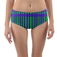 Bright Green Purple Stripes Pattern Reversible Mid Waist Bikini Bottoms by BrightVibesDesign