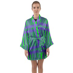 Bright Green Purple Stripes Pattern Long Sleeve Kimono Robe by BrightVibesDesign