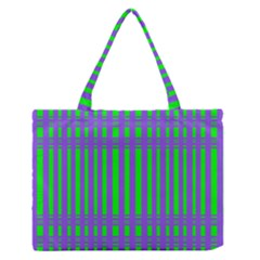 Bright Green Purple Stripes Pattern Zipper Medium Tote Bag by BrightVibesDesign