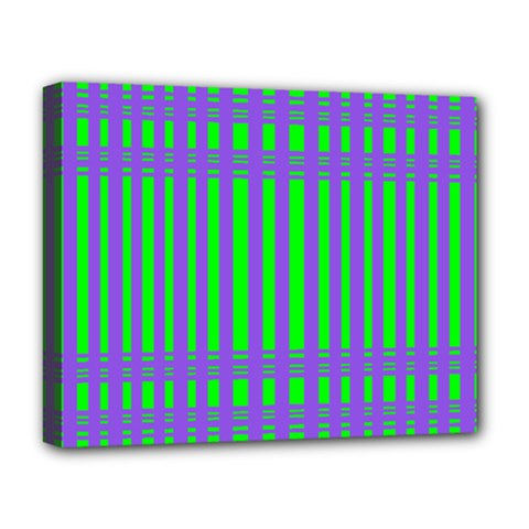 Bright Green Purple Stripes Pattern Deluxe Canvas 20  X 16   by BrightVibesDesign
