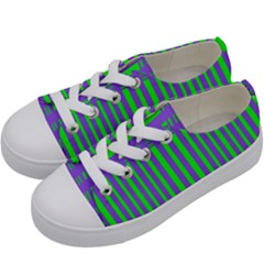 Bright Green Purple Stripes Pattern Kids  Low Top Canvas Sneakers by BrightVibesDesign
