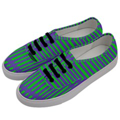 Bright Green Purple Stripes Pattern Men s Classic Low Top Sneakers by BrightVibesDesign