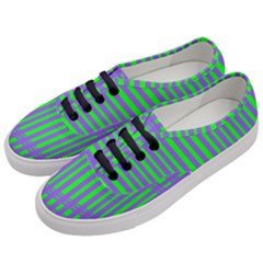 Bright Green Purple Stripes Pattern Women s Classic Low Top Sneakers by BrightVibesDesign