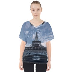 Eiffel Tower France Landmark V Neck Dolman Drape Top