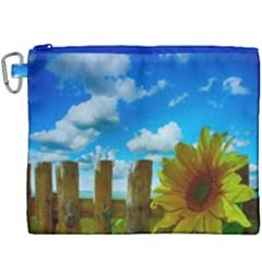 Sunflower Summer Sunny Nature Canvas Cosmetic Bag (xxxl) by Celenk