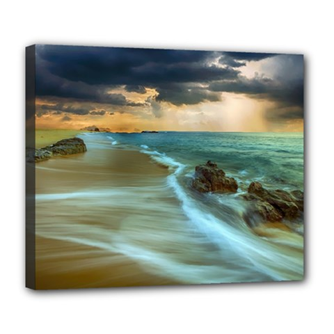 Beach Shore Sand Coast Nature Sea Deluxe Canvas 24  X 20   by Celenk