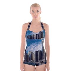 Skyscraper City Architecture Urban Boyleg Halter Swimsuit  by Celenk