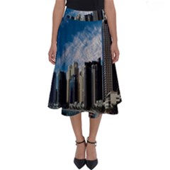 Skyscraper City Architecture Urban Perfect Length Midi Skirt