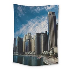 Skyscraper City Architecture Urban Medium Tapestry by Celenk