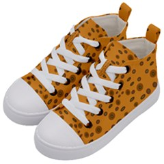 Brown Circle Pattern On Yellow Kid s Mid Top Canvas Sneakers by BrightVibesDesign