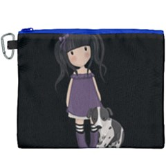 Dolly Girl And Dog Canvas Cosmetic Bag (xxxl) by Valentinaart