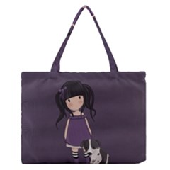 Dolly Girl And Dog Zipper Medium Tote Bag by Valentinaart