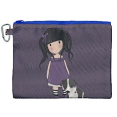 Dolly Girl And Dog Canvas Cosmetic Bag (xxl) by Valentinaart