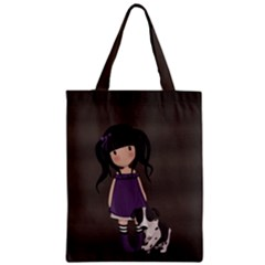 Dolly Girl And Dog Zipper Classic Tote Bag by Valentinaart