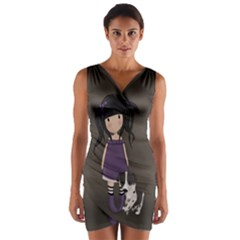 Dolly Girl And Dog Wrap Front Bodycon Dress by Valentinaart