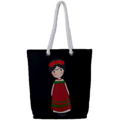 Frida Kahlo Doll Full Print Rope Handle Tote (small) by Valentinaart
