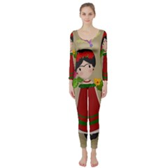 Frida Kahlo Doll Long Sleeve Catsuit by Valentinaart