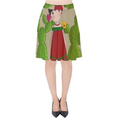 Frida Kahlo Doll Velvet High Waist Skirt by Valentinaart