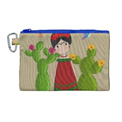 Frida Kahlo Doll Canvas Cosmetic Bag (large)