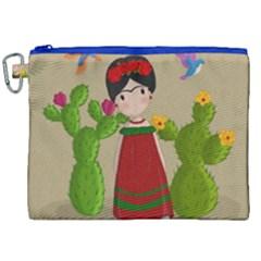 Frida Kahlo Doll Canvas Cosmetic Bag (xxl) by Valentinaart