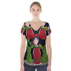 Frida Kahlo Doll Short Sleeve Front Detail Top by Valentinaart