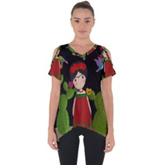 Frida Kahlo Doll Cut Out Side Drop Tee by Valentinaart