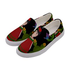Frida Kahlo Doll Women s Canvas Slip Ons by Valentinaart