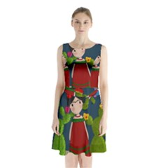Frida Kahlo Doll Sleeveless Waist Tie Chiffon Dress