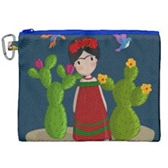 Frida Kahlo Doll Canvas Cosmetic Bag (xxl) by Valentinaart