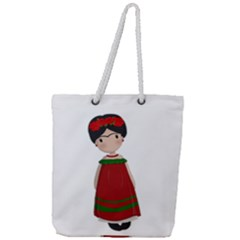 Frida Kahlo Doll Full Print Rope Handle Tote (large) by Valentinaart