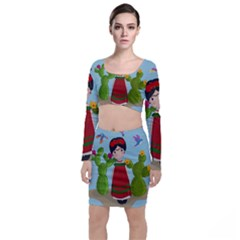 Frida Kahlo Doll Long Sleeve Crop Top & Bodycon Skirt Set by Valentinaart