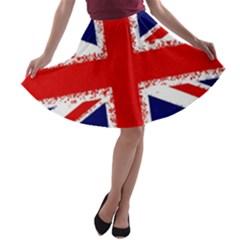 Union Jack London Flag Uk A Line Skater Skirt by Celenk