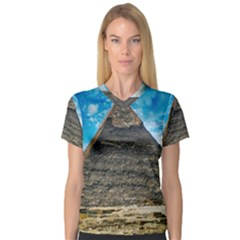 Pyramid Egypt Ancient Giza V Neck Sport Mesh Tee by Celenk