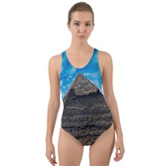 Pyramid Egypt Ancient Giza Cut Out Back One Piece Swimsuit by Celenk