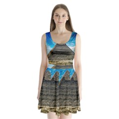Pyramid Egypt Ancient Giza Split Back Mini Dress  by Celenk