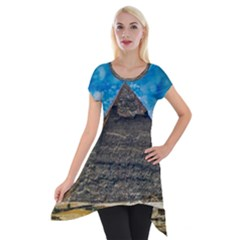 Pyramid Egypt Ancient Giza Short Sleeve Side Drop Tunic by Celenk