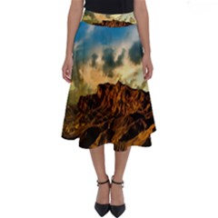 Mountain Sky Landscape Nature Perfect Length Midi Skirt